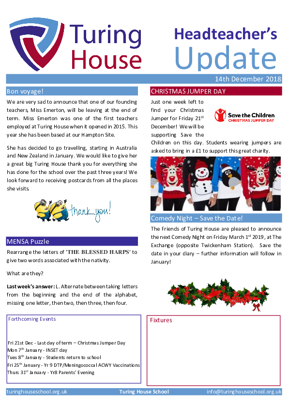 Newsletters - Turing House School
